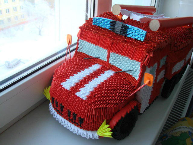 Модульная оригами машина пожарная схема