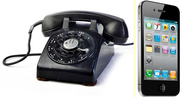 Классический телефонный аппарат для проводной линии и современный сотовый телефон с Андроидом в качестве операционной системы