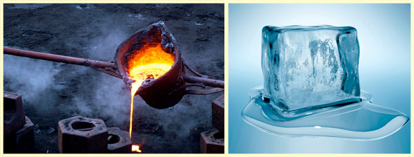 Расплавленный металл и то, как плавится лёд