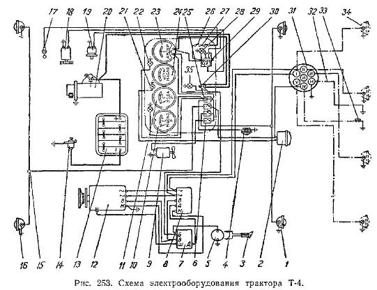 схема електропроводки мототрактора