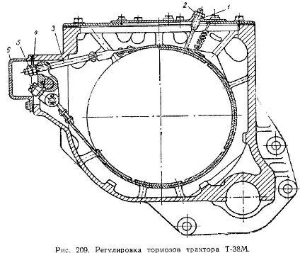 регулировка тормозов трактора Т38М