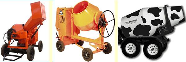 Три мощных бетоносмесители на четырёх колёсах. Второй имеет возможность самостоятельного передвижения