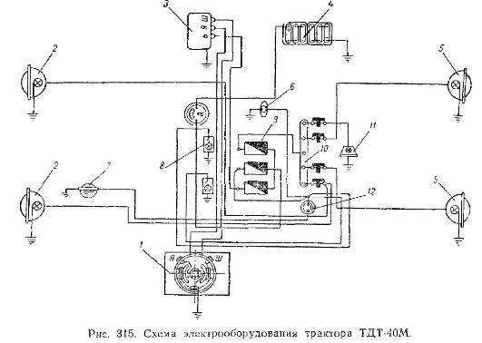 Электрооборудование трактора ТДТ-40М