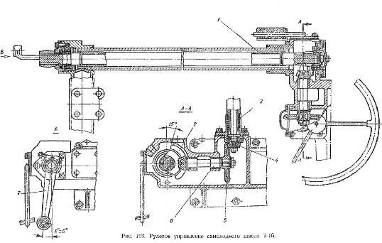 Рулевое управление самоходного шасси Т-16